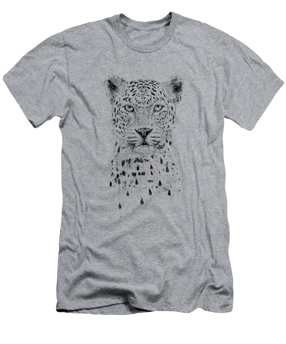 Leopard T-Shirt featuring the drawing Raining again by Balazs Solti