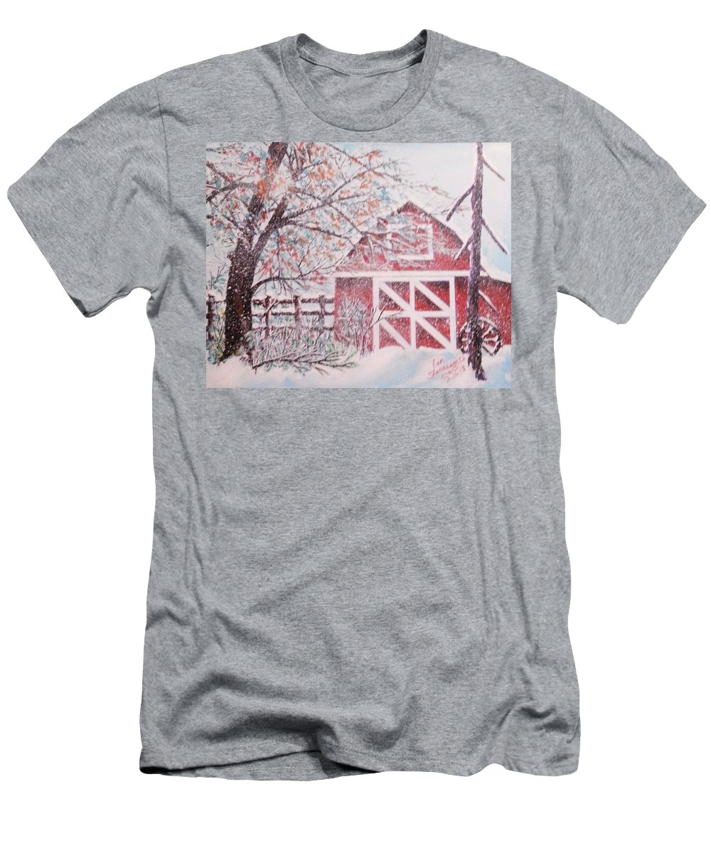 Landscape Men's T-Shirt (Athletic Fit) featuring the painting Red Barn by Ken Farnsworth