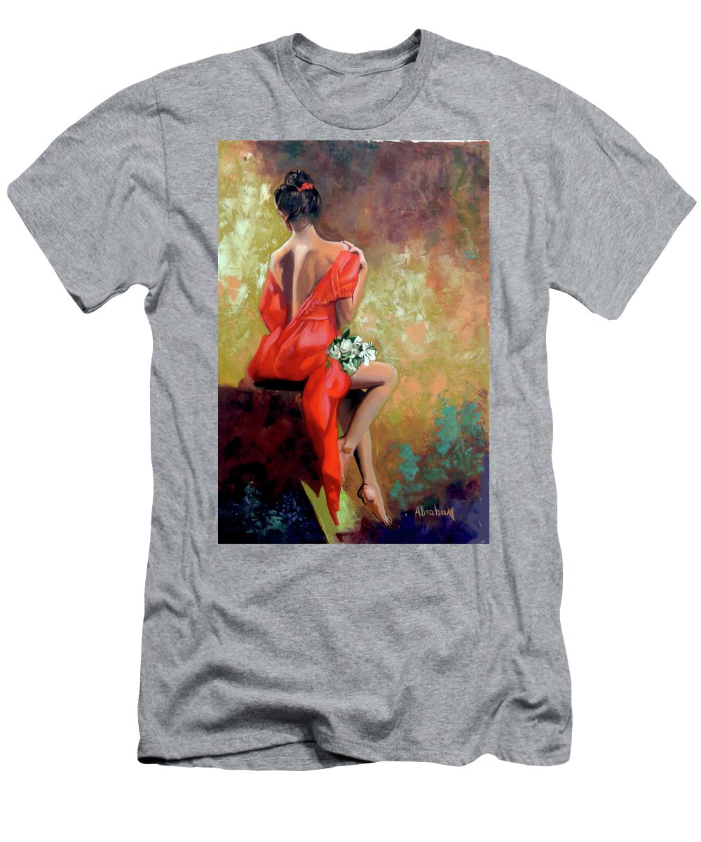 Women T-Shirt featuring the painting Red Lady 2 by Jose Manuel Abraham