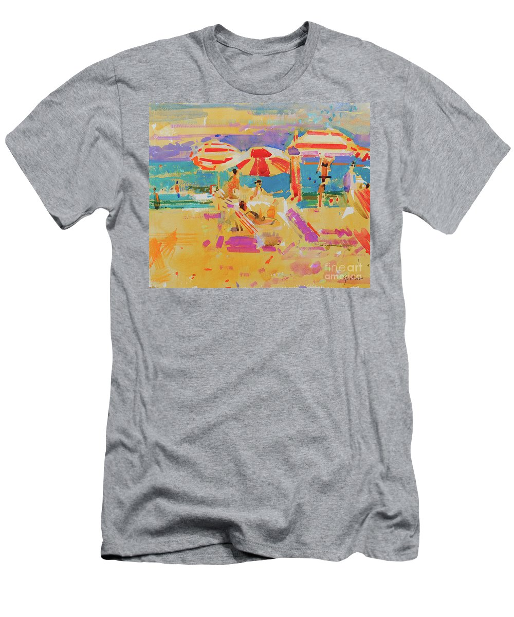 Red Parasols Men's T-Shirt (Athletic Fit) featuring the painting Red Parasols, Miami by Peter Graham