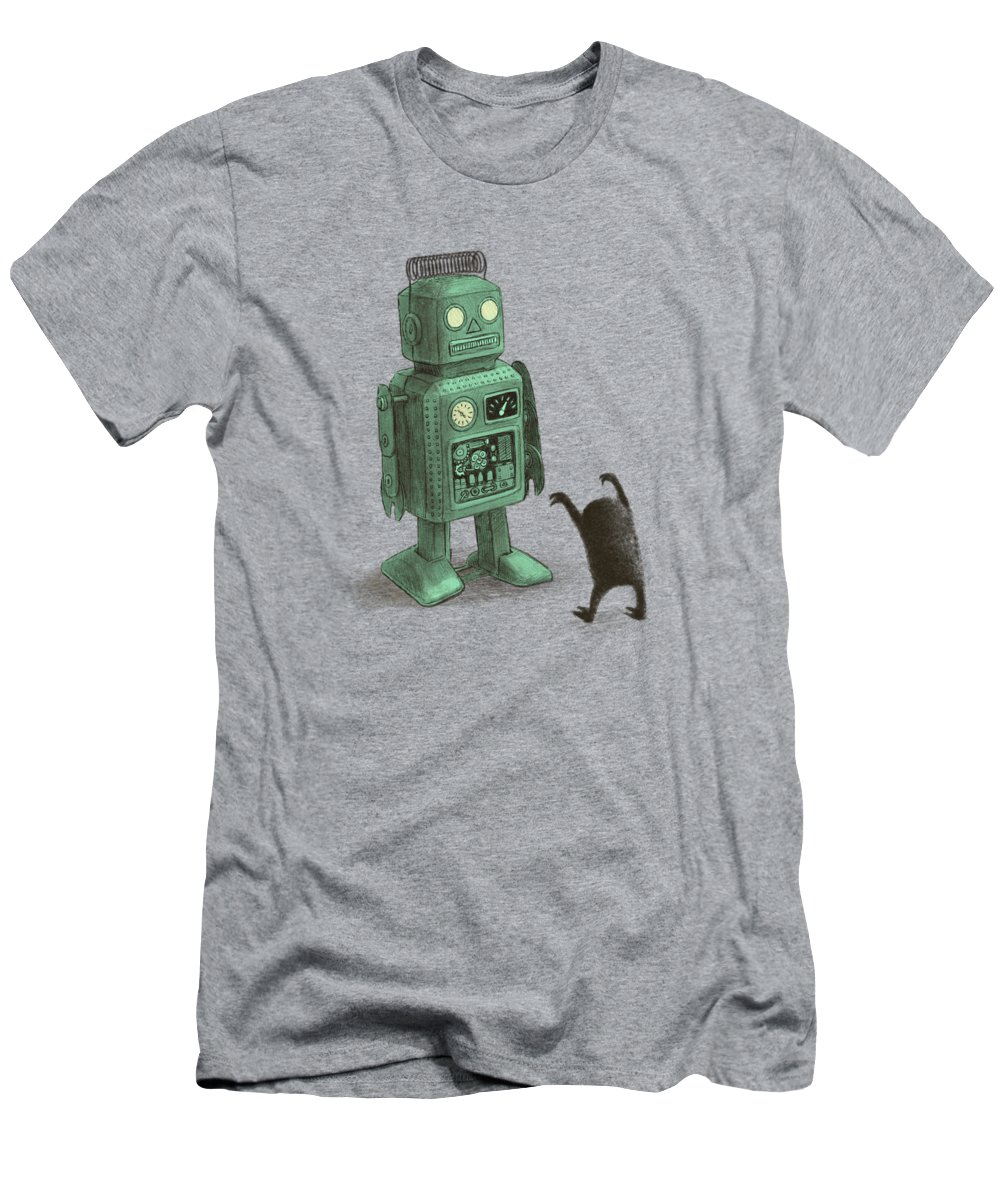 Vintage Men's T-Shirt (Athletic Fit) featuring the drawing Robot Vs Alien by Eric Fan