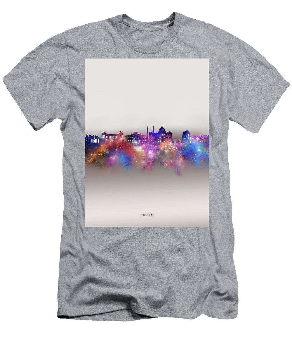 Rome Men's T-Shirt (Athletic Fit) featuring the digital art Rome Skyline Galaxy by Bekim M