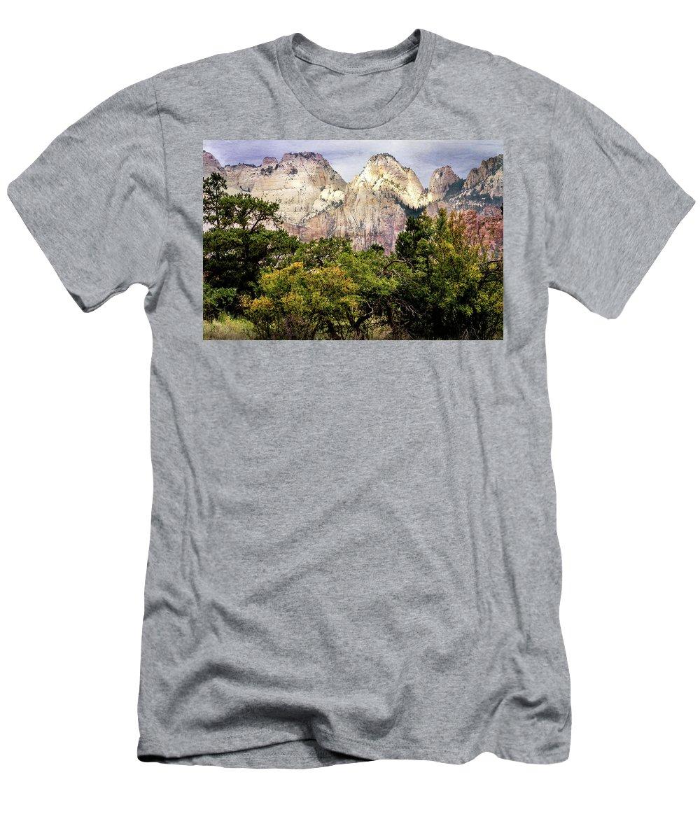 Landscape Men's T-Shirt (Athletic Fit) featuring the photograph Scenic Zion - Mount Carmel Highway Drive 4 by Debra Martz