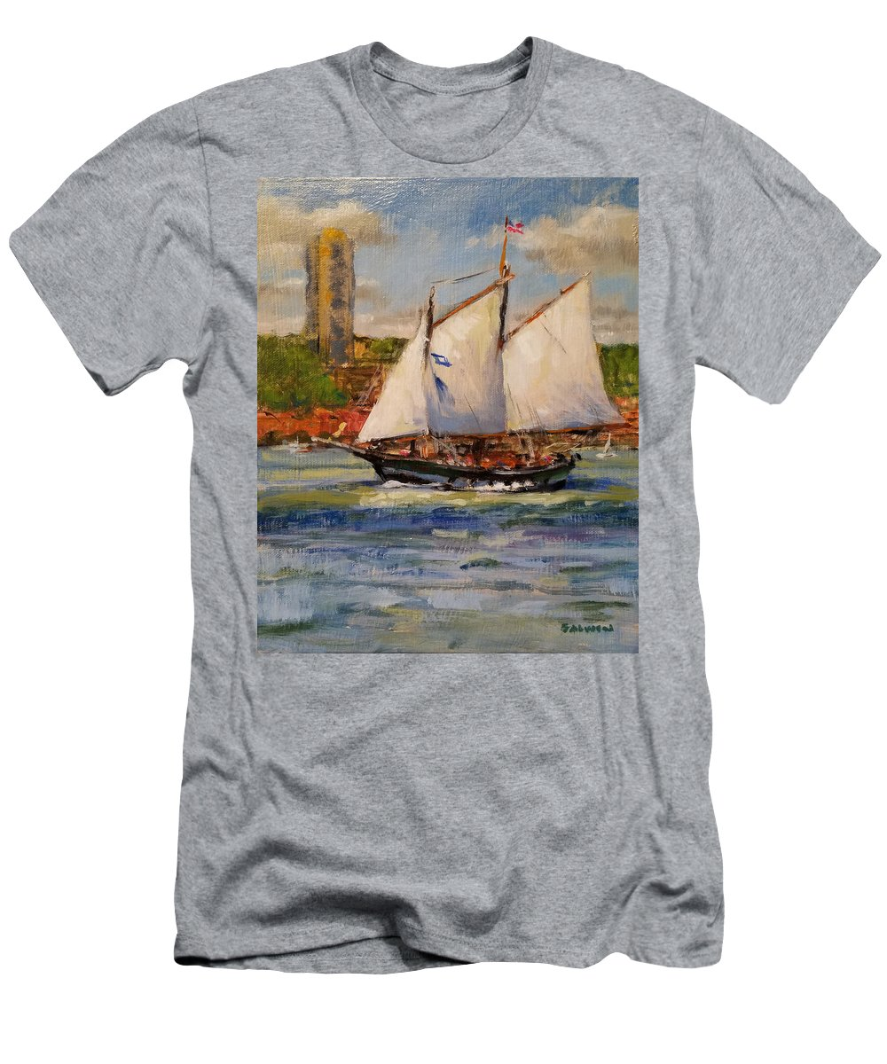 Hudscon River Men's T-Shirt (Athletic Fit) featuring the painting Schooner Mystic Whaler Cruising The Hudson by Peter Salwen