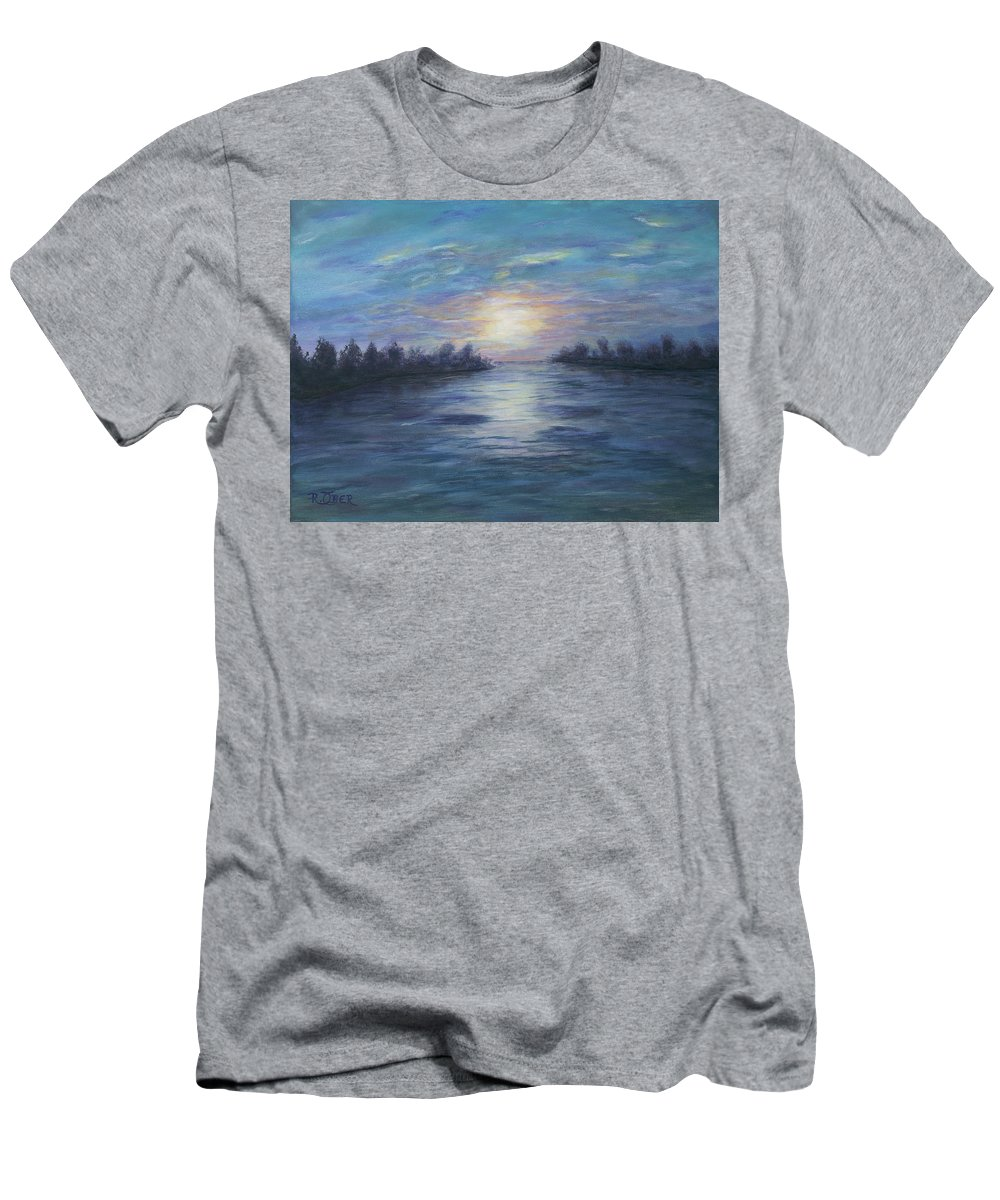 Landscape Sunrise Sunset River Water Lake Pond Blue Sky Clouds Nature Men's T-Shirt (Athletic Fit) featuring the painting Serene River Sunset by Renee Ober