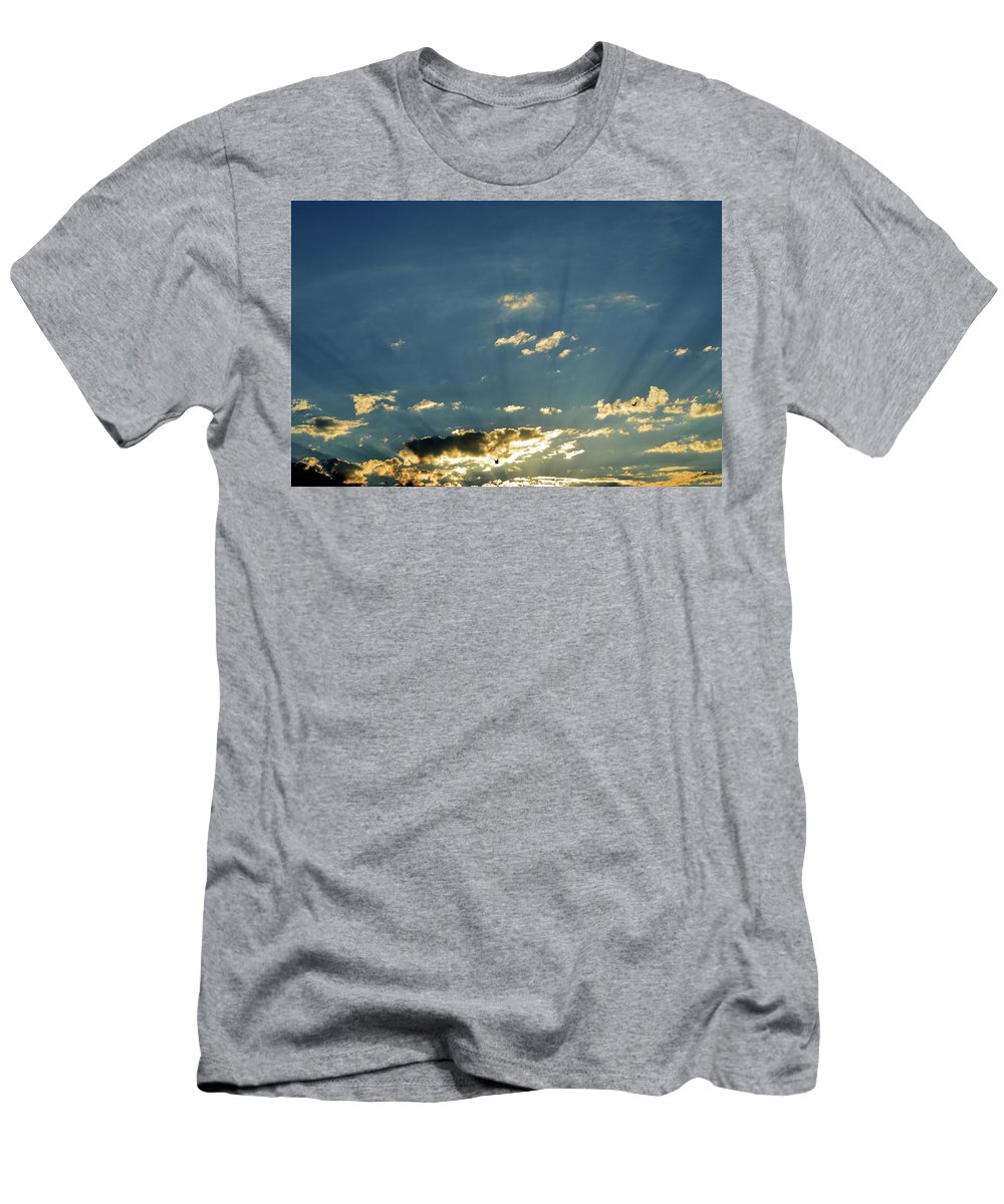 Abstract Men's T-Shirt (Athletic Fit) featuring the photograph Shadows And Pigeons by Lyle Crump
