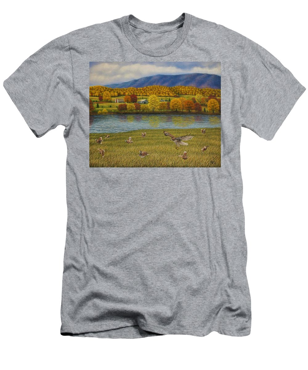 Wildlife Men's T-Shirt (Athletic Fit) featuring the painting Shenandoah Valley Hawk by Charles Hill