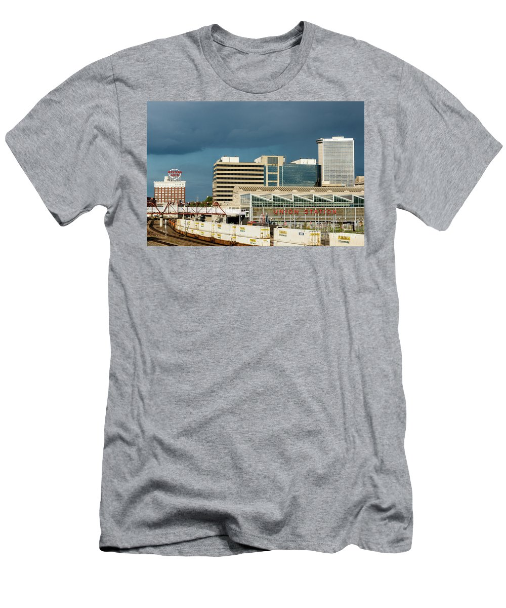 Kansas City Men's T-Shirt (Athletic Fit) featuring the photograph Storm Over Union Station by Terri Morris