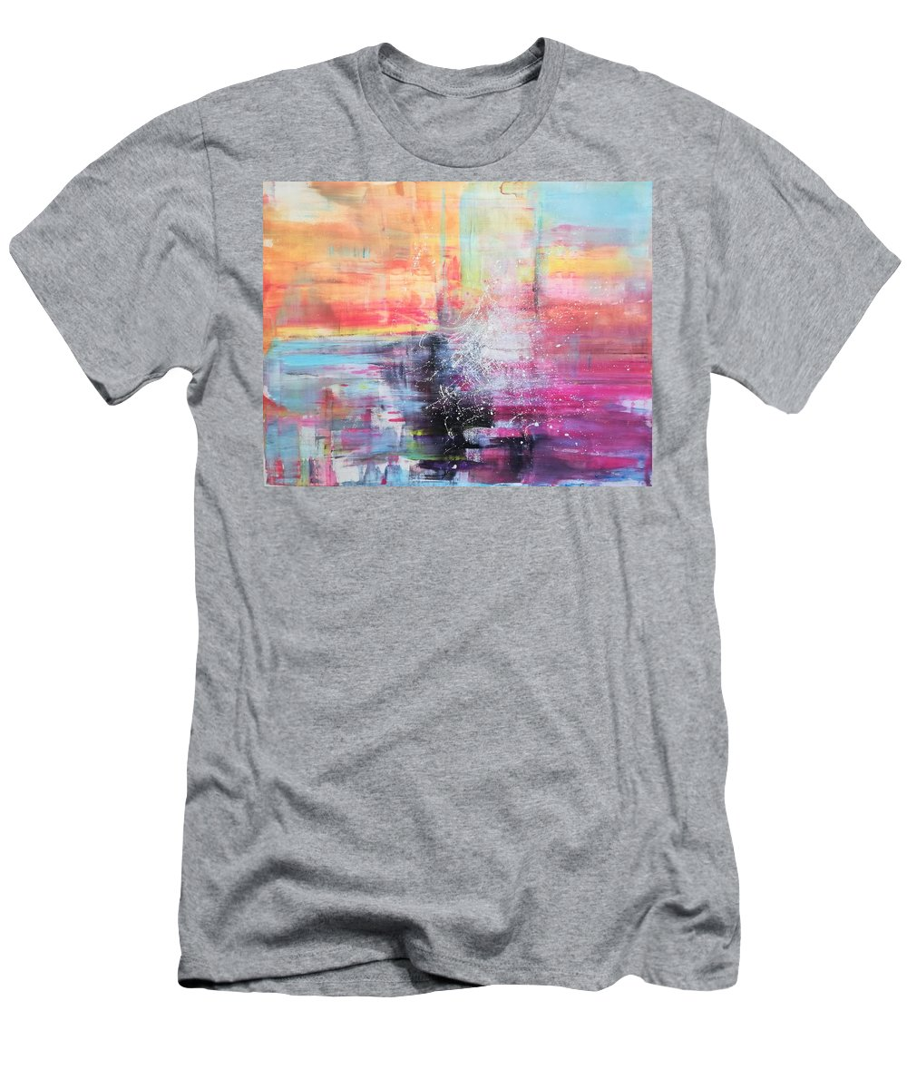Bright Colorful Landscape Summer Pink Orange Blue Abstract Men's T-Shirt (Athletic Fit) featuring the painting Summertime by A Bacia