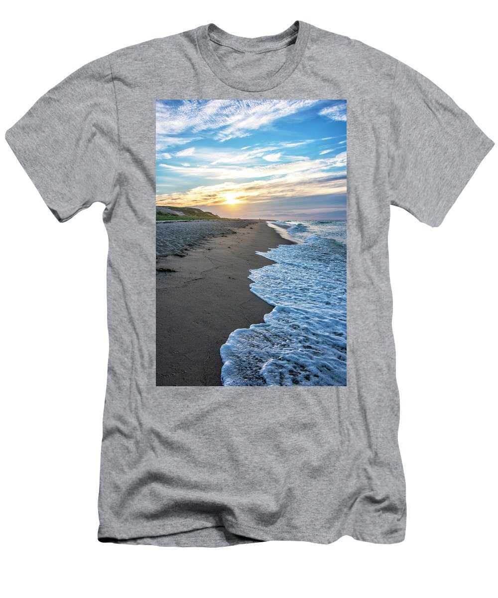 Cape Cod Sunset Men's T-Shirt (Athletic Fit) featuring the photograph Sunset At Cape Cod National Seashore - Massachusetts by Brendan Reals