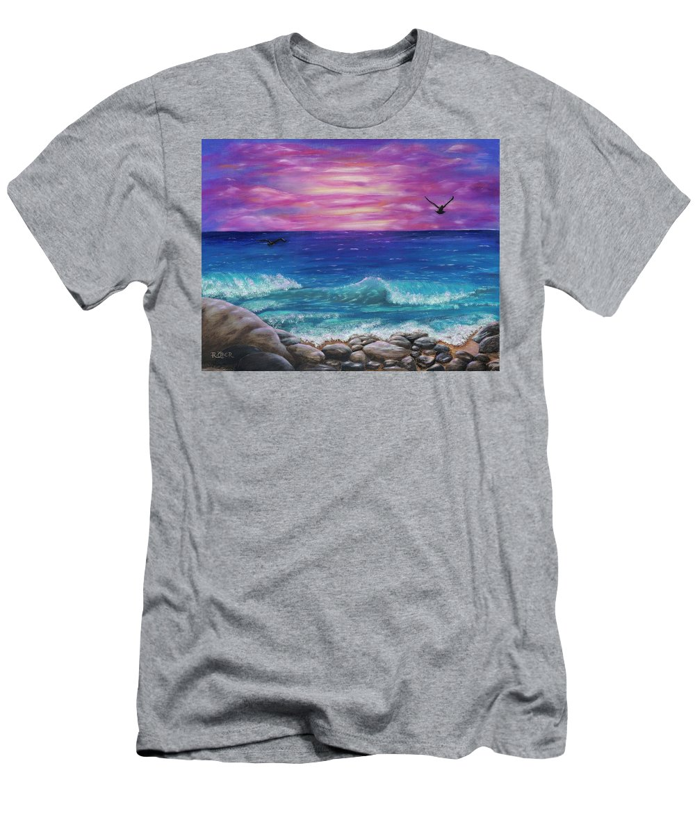 Ocean Beach Wave Sunset Sunrise Birds Rocks Nature Landscape Serine Peaceful Men's T-Shirt (Athletic Fit) featuring the photograph Sunset Wave by Renee Ober