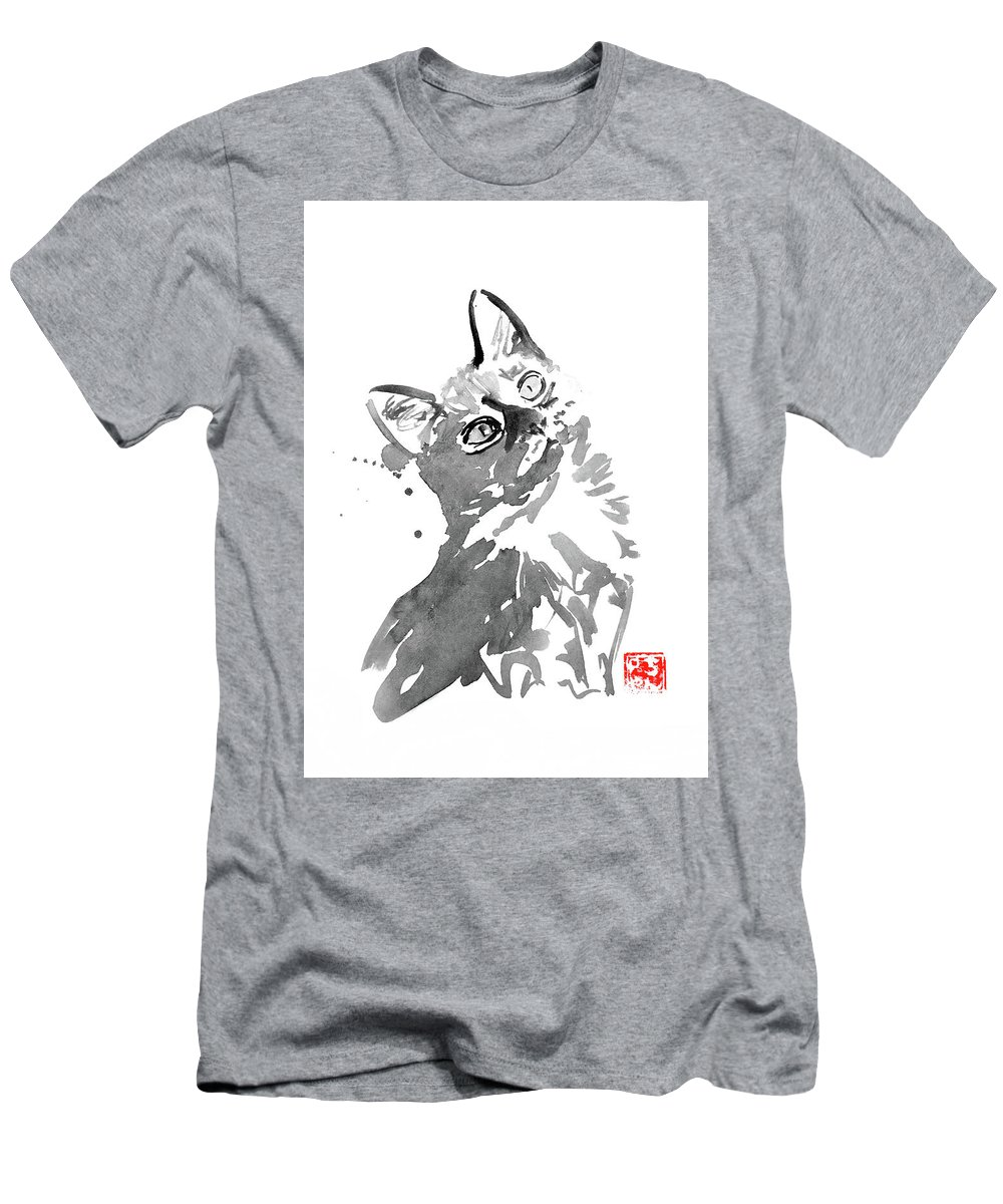 Cat Men's T-Shirt (Athletic Fit) featuring the painting Surprised Cat by Pechane Sumie