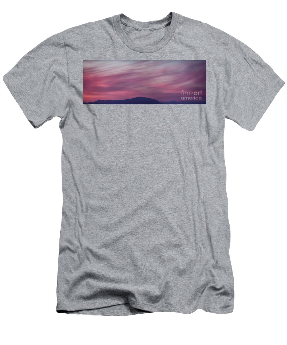 Skies Men's T-Shirt (Athletic Fit) featuring the photograph Surreal Red Twilight Sky Panorama Above Mountains On The Pacific by Awen Fine Art Prints