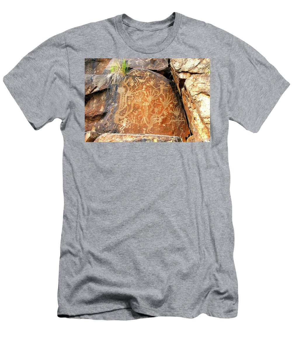The Healer Men's T-Shirt (Athletic Fit) featuring the photograph The Healer Rock Art Galisteo Nm. by David Lee Thompson