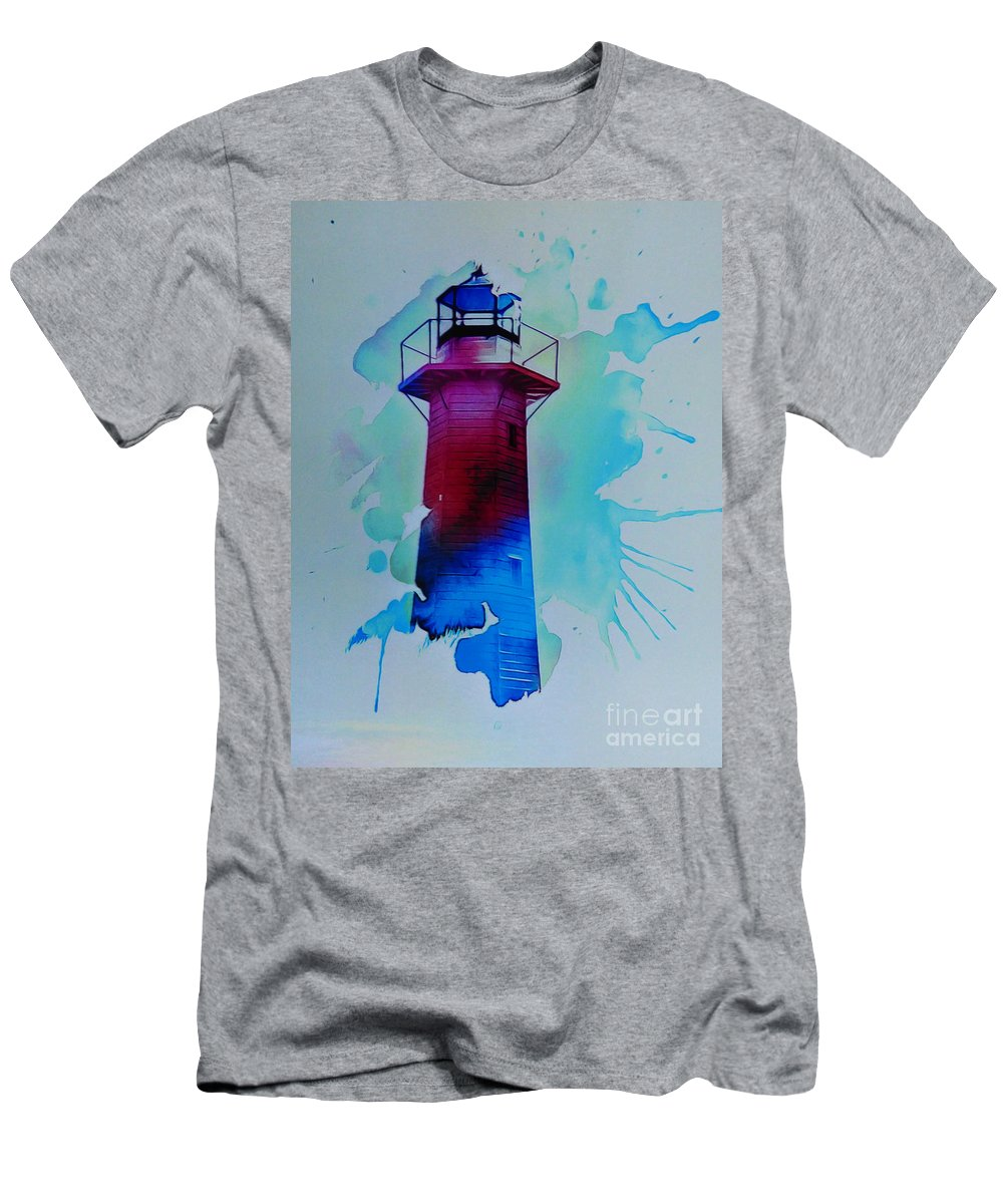The Lighthouse. This Image Was Created By Adding A Digital Application To My Original Photo Resulting In A Contemporary Semi-abstract Finish. Men's T-Shirt (Athletic Fit) featuring the digital art The Lighthouse by Trudee Hunter