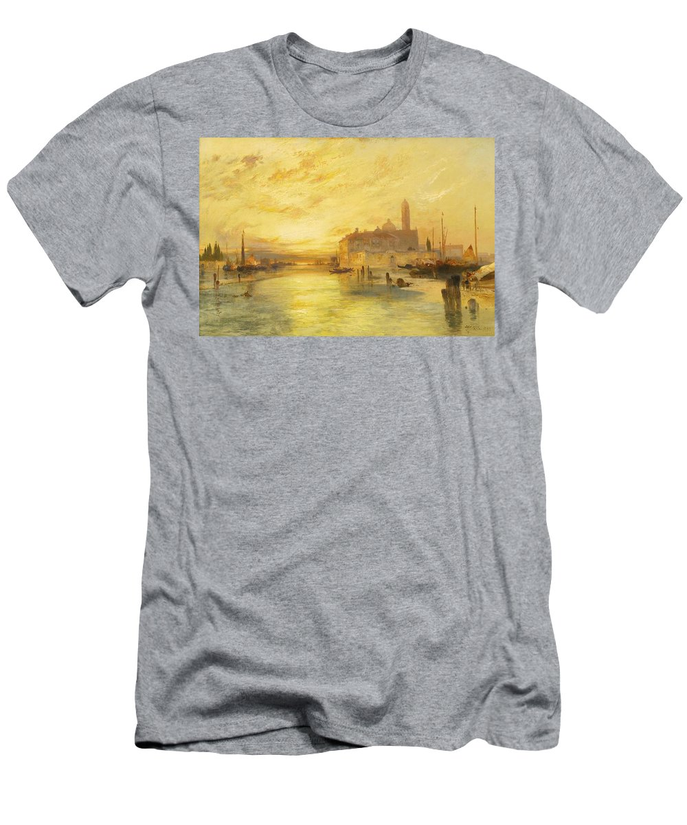 Nature Men's T-Shirt (Athletic Fit) featuring the painting Thomas Moran 1837-1926 Sunset In Venice by Thomas Moran