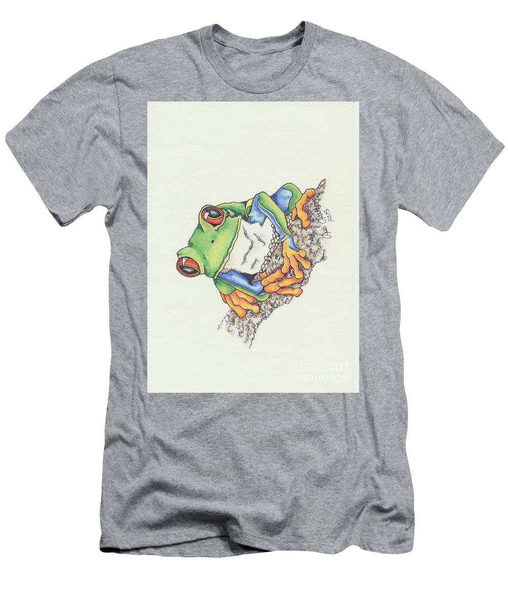 Tree Frog Men's T-Shirt (Athletic Fit) featuring the mixed media Transitions by Lisa Johnson