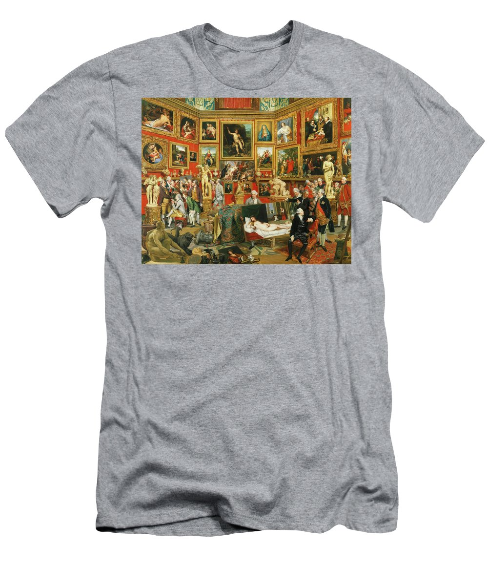 Johan Zoffany Men's T-Shirt (Athletic Fit) featuring the painting Tribuna Of The Uffizi, 1777 by Johan Zoffany