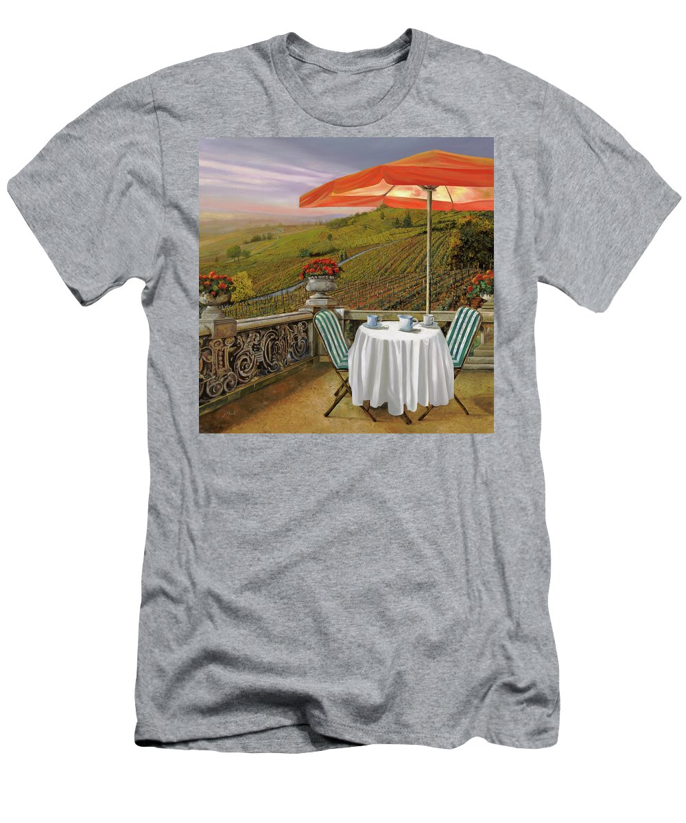 Vineyard Men's T-Shirt (Athletic Fit) featuring the painting Un Caffe' Nelle Vigne by Guido Borelli
