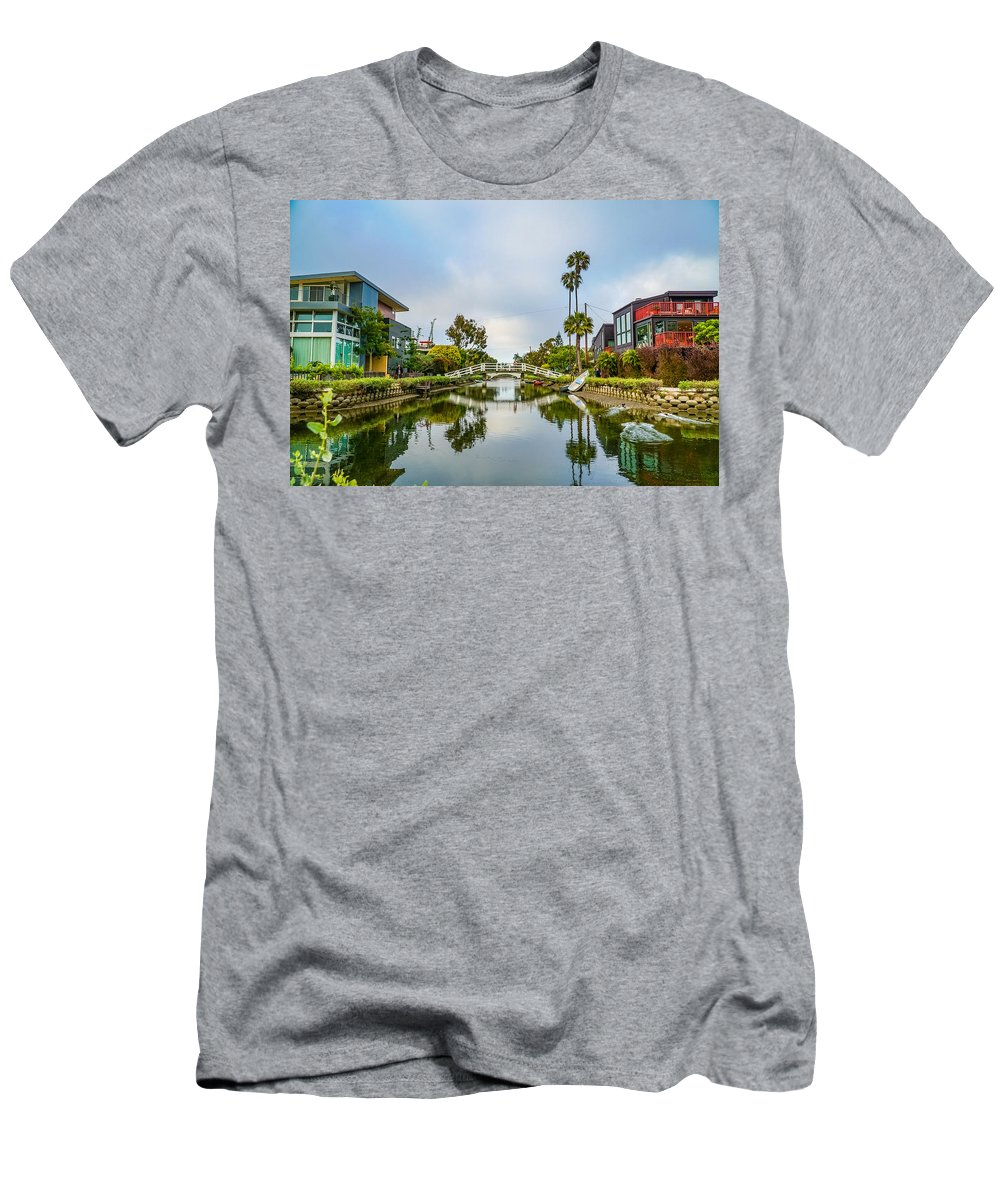Venice Canals California Sky Water Reflection Men's T-Shirt (Athletic Fit) featuring the photograph Venice Canals by Hilario Ruiz
