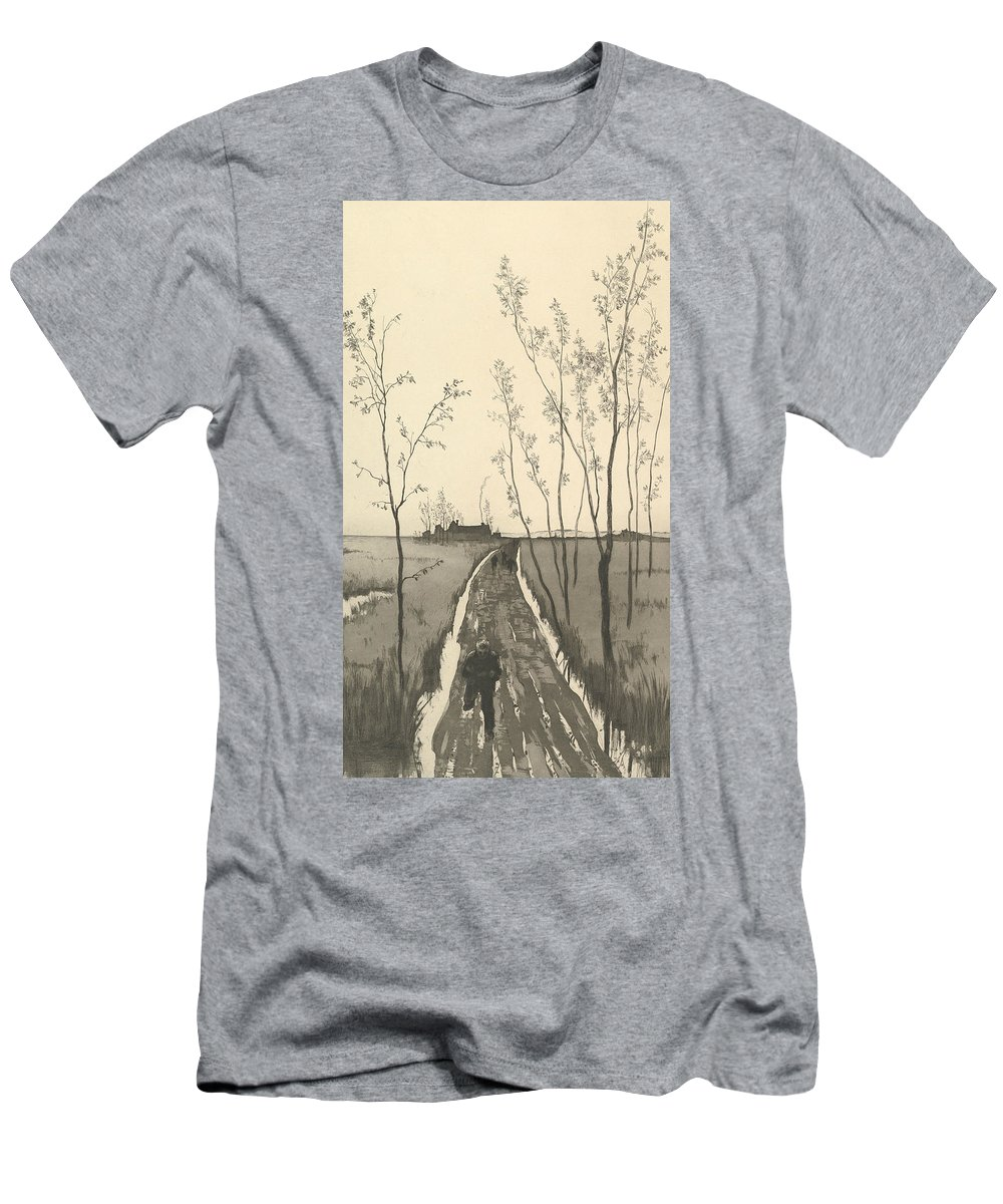 19th Century Art Men's T-Shirt (Athletic Fit) featuring the relief Verfolgung, From The Series Radierte Skizzen by Max Klinger