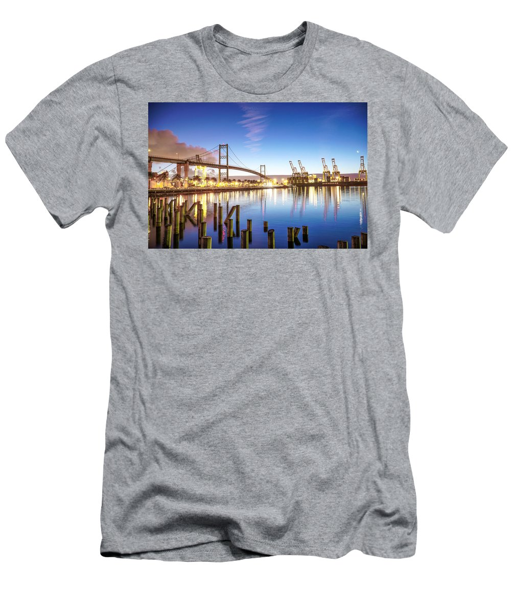 Blue Sky Water Port Of Los Angles Pola Bridge Vincent Thomas San Pedro Men's T-Shirt (Athletic Fit) featuring the photograph Vincent Thomas Bridge by Hilario Ruiz