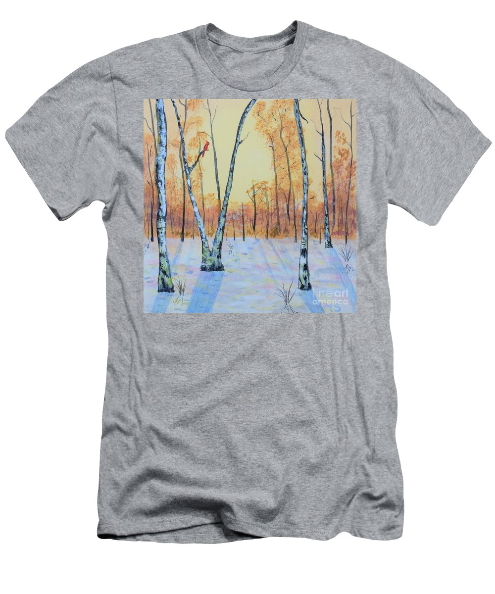Birch Men's T-Shirt (Athletic Fit) featuring the photograph Winter Birches-cardinal Left by Monika Shepherdson
