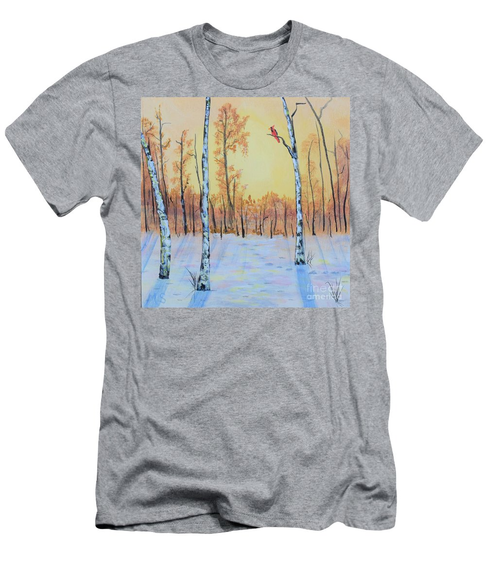 Birch Men's T-Shirt (Athletic Fit) featuring the painting Winter Birches-cardinal Right by Monika Shepherdson