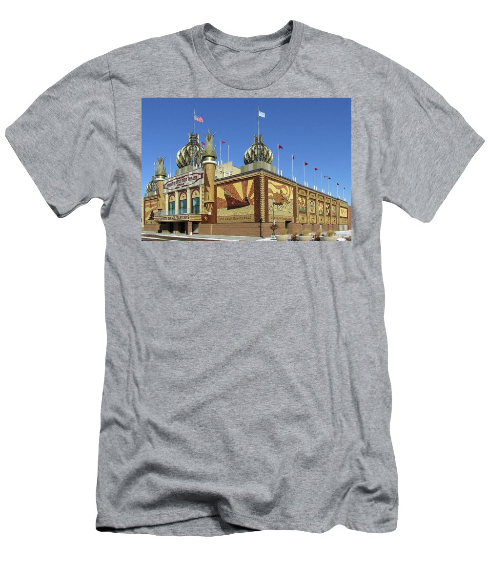 Corn Palace Men's T-Shirt (Athletic Fit) featuring the photograph Worlds Only Corn Palace 2018-19 by Richard Stedman