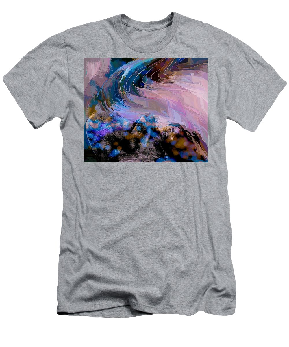 Modern Abstract Art T-Shirt featuring the mixed media Abstract Island Girl Slumbering On The Beach by Joan Stratton