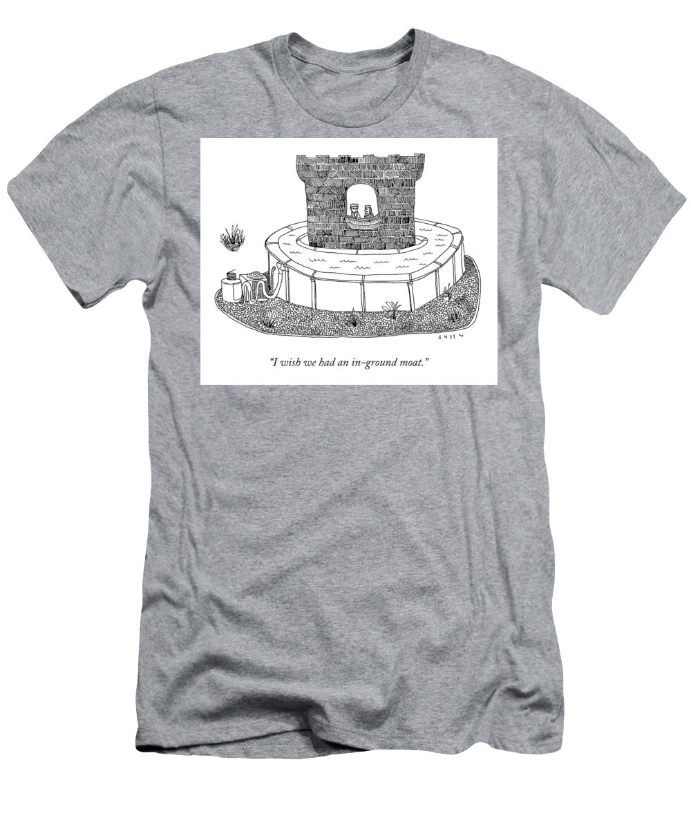 I Wish We Had An In-ground Moat. T-Shirt featuring the drawing An In-Ground Moat by Justin Sheen