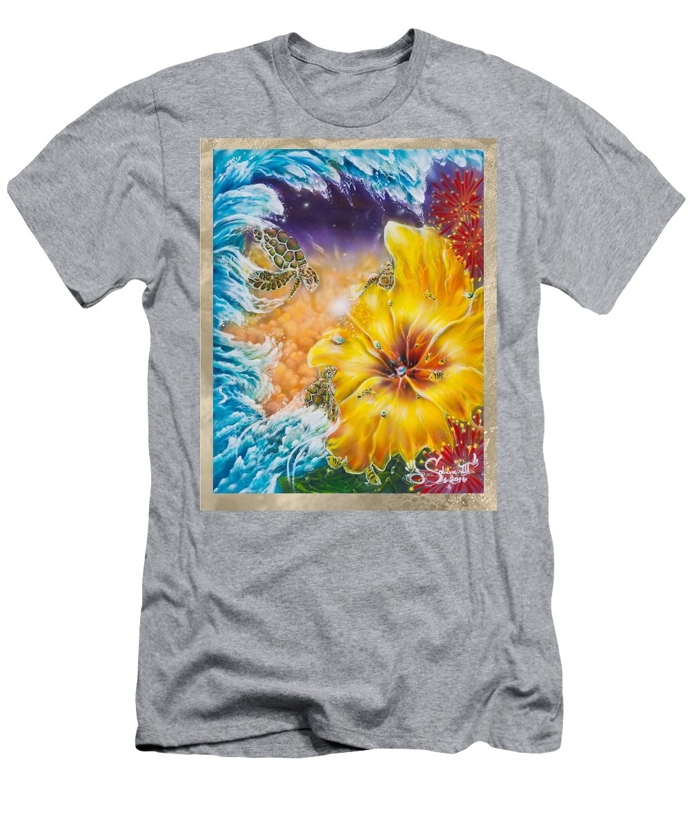 Aloha! Honu Hawaii Art Hibiscus Coral Reefs Flowers Floral Reefs T-Shirt featuring the painting Wave of the Honu by Joel Salinas III
