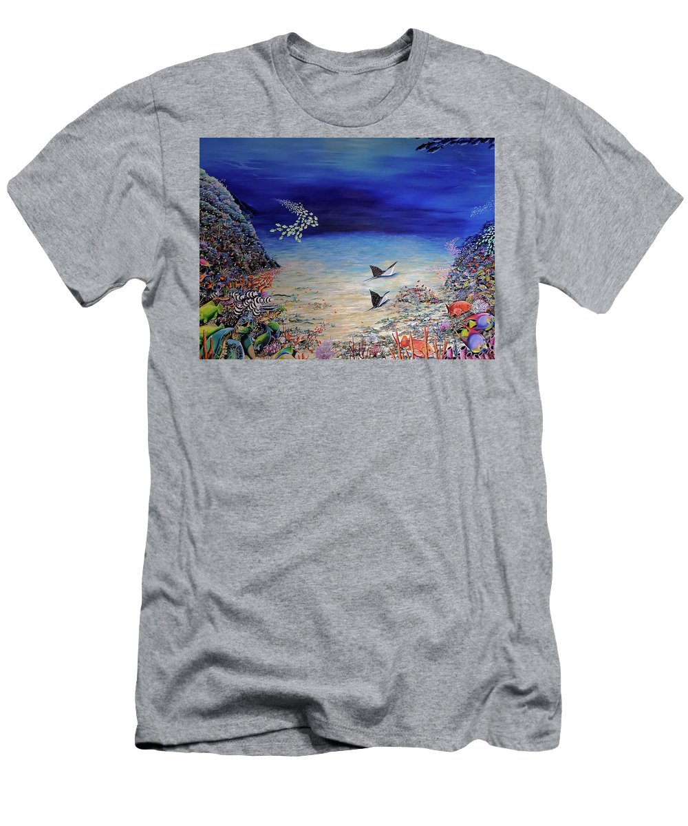 Coral Reef T-Shirt featuring the painting Blue Tranquility by Karin Dawn Kelshall- Best