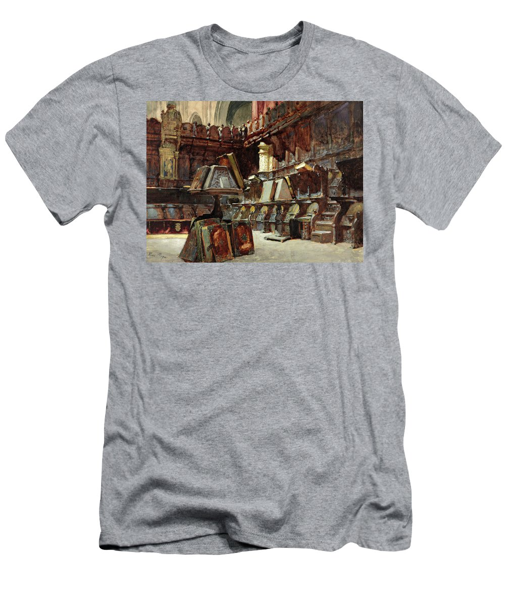 Henri Regnault T-Shirt featuring the painting Choir Stalls In A Spanish Cathedral by Henri Regnault