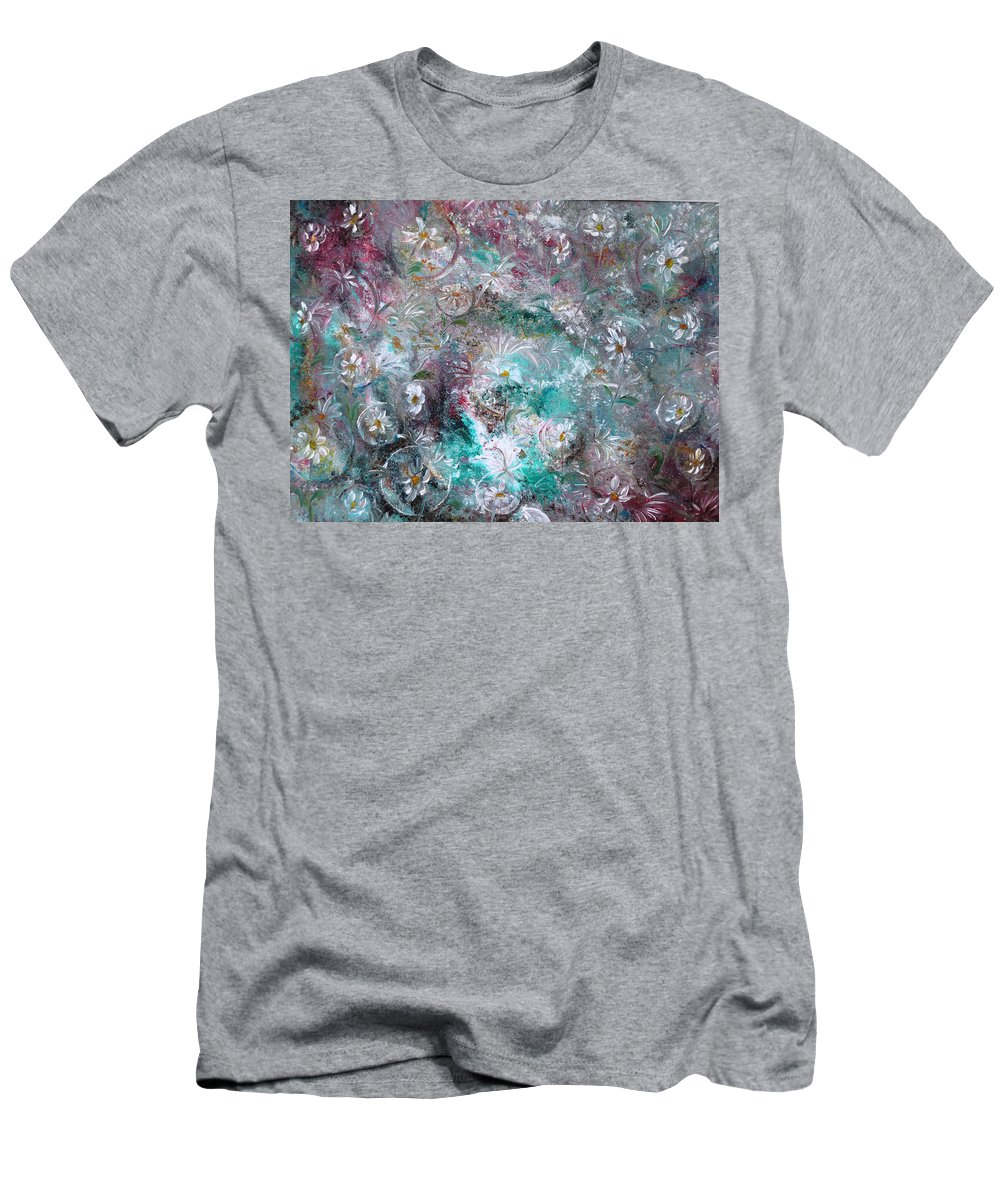 Original Flower Abstract Painting T-Shirt featuring the painting Daisy Dreamz by Karin Dawn Kelshall- Best