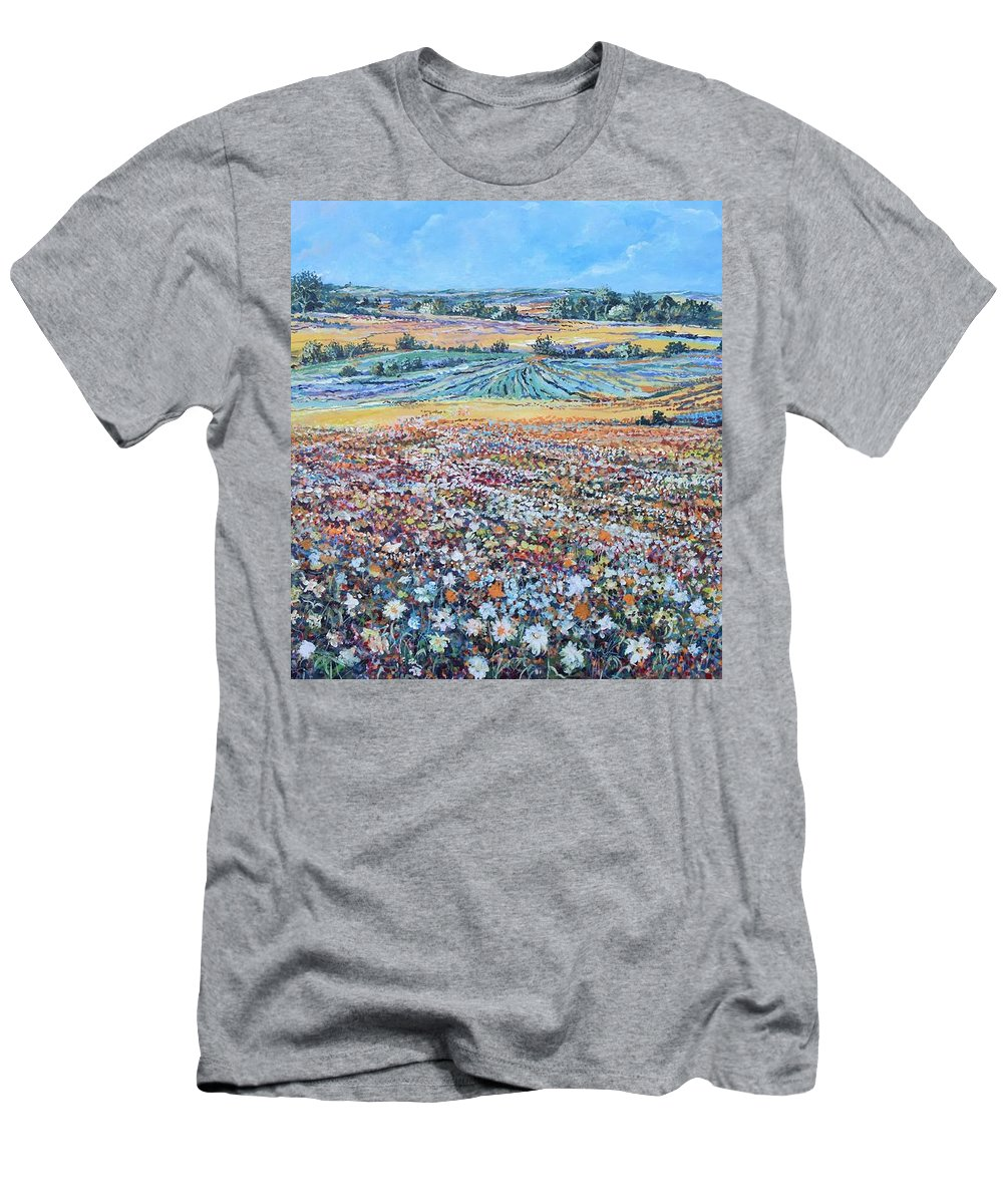 Flower T-Shirt featuring the painting Flower Field by Sinisa Saratlic