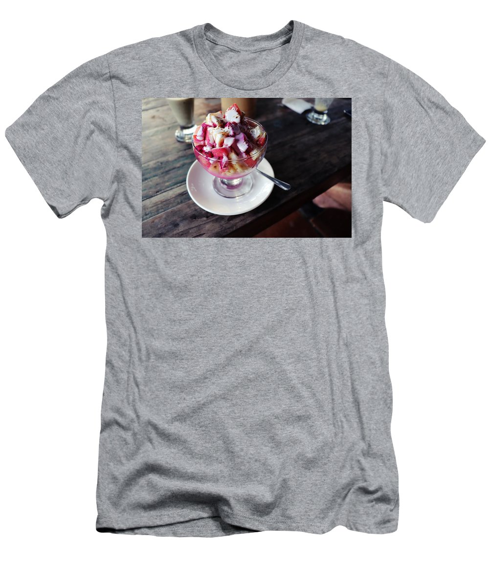 Fruit T-Shirt featuring the digital art Fruity dessert with white cream by Worldvibes1