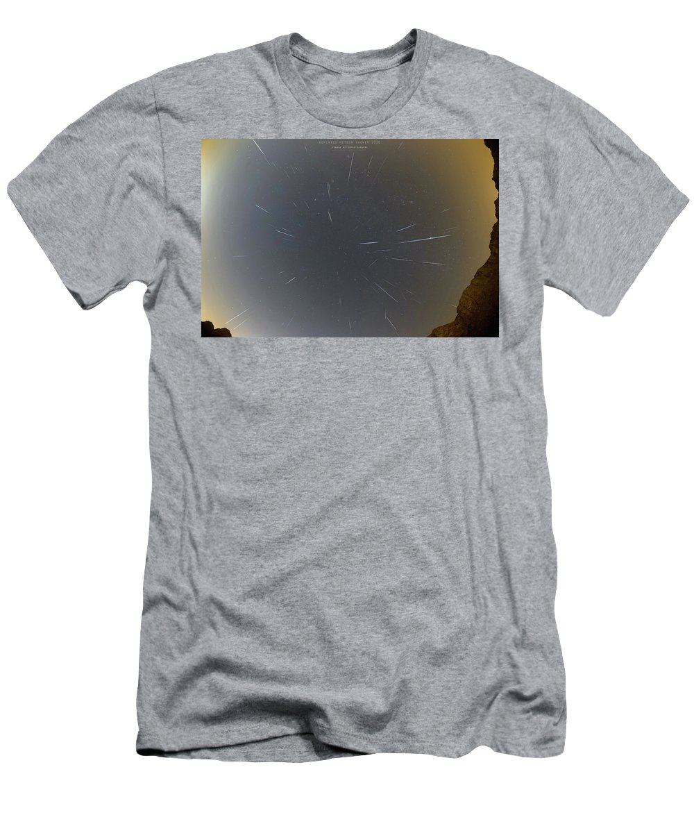 T-Shirt featuring the photograph Geminids Meteor Shower 2020 by Prabhu Astrophotography