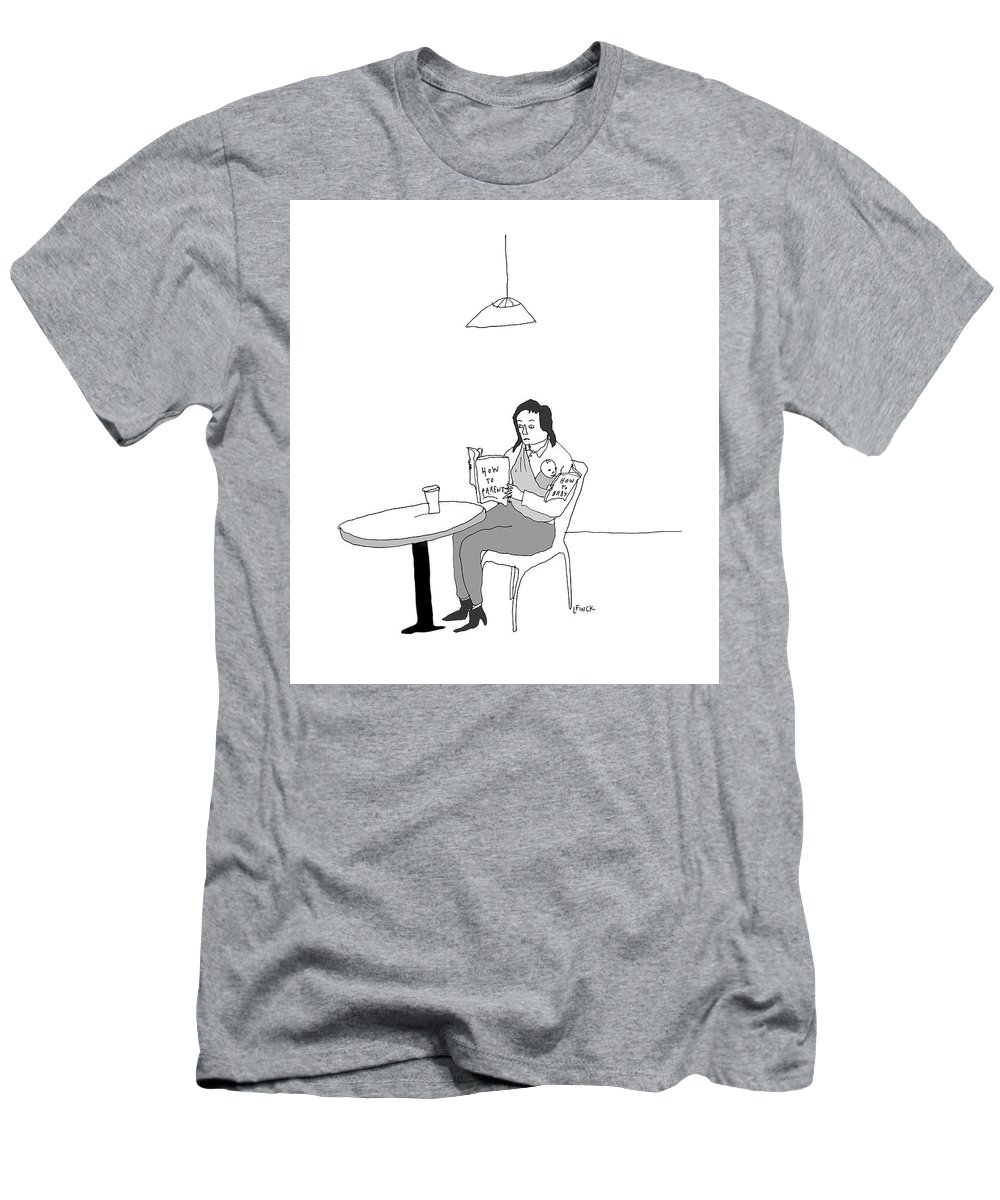 Captionless T-Shirt featuring the drawing How To by Liana Finck