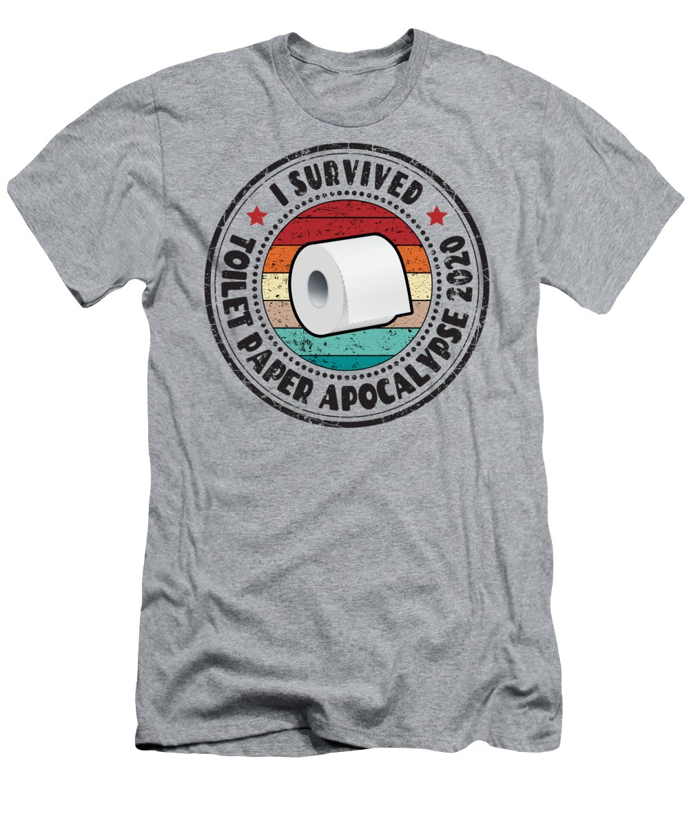 Toilet Paper Shortage T-Shirt featuring the digital art I Survived Toilet Paper Apocalypse 2020 by Boris Black