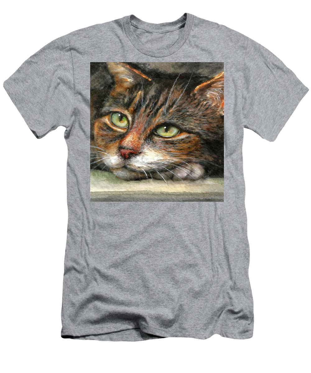 Cat T-Shirt featuring the painting Kitty by Natalja Picugina