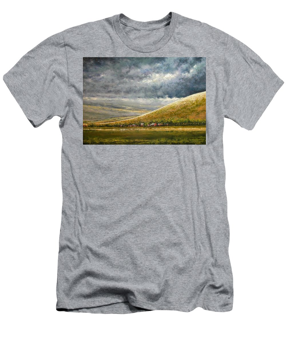 Landscape T-Shirt featuring the painting Lightburst-Jackson Hole by Jim Gola