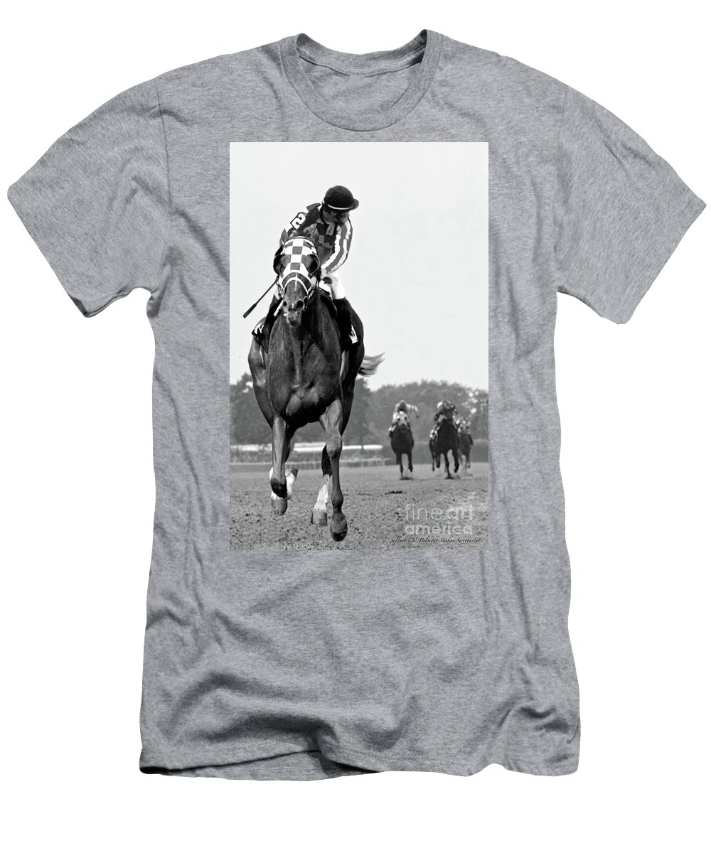 Looking Back T-Shirt featuring the painting Looking back, 1973, Secretariat, stretch run, Belmont Stakes by Thomas Pollart