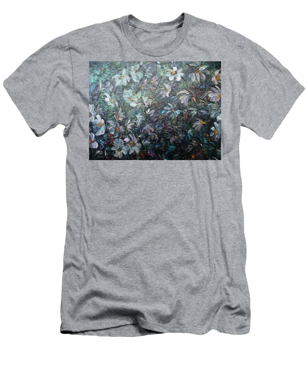 Floral Daisies Abstract T-Shirt featuring the painting Moonlight And Daisies.. by Karin Dawn Kelshall- Best