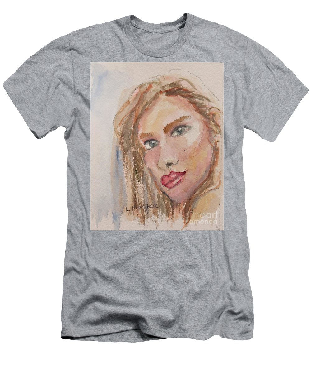 Portrait T-Shirt featuring the painting Ruby Lips by Laurie Morgan