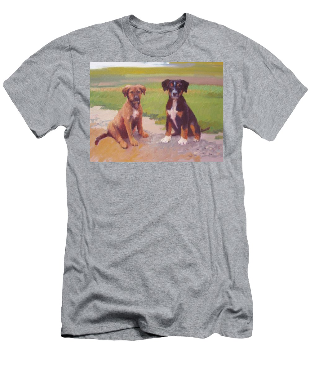 Pet Portrait T-Shirt featuring the painting Rusty and Bandit by Dianne Panarelli Miller