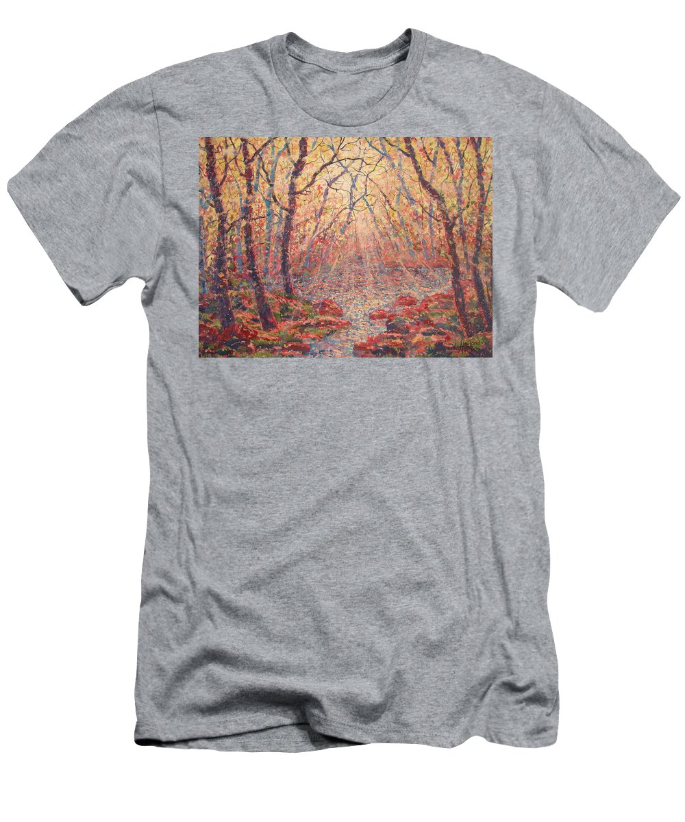 Painting T-Shirt featuring the painting Sun Rays Through The Trees. by Leonard Holland