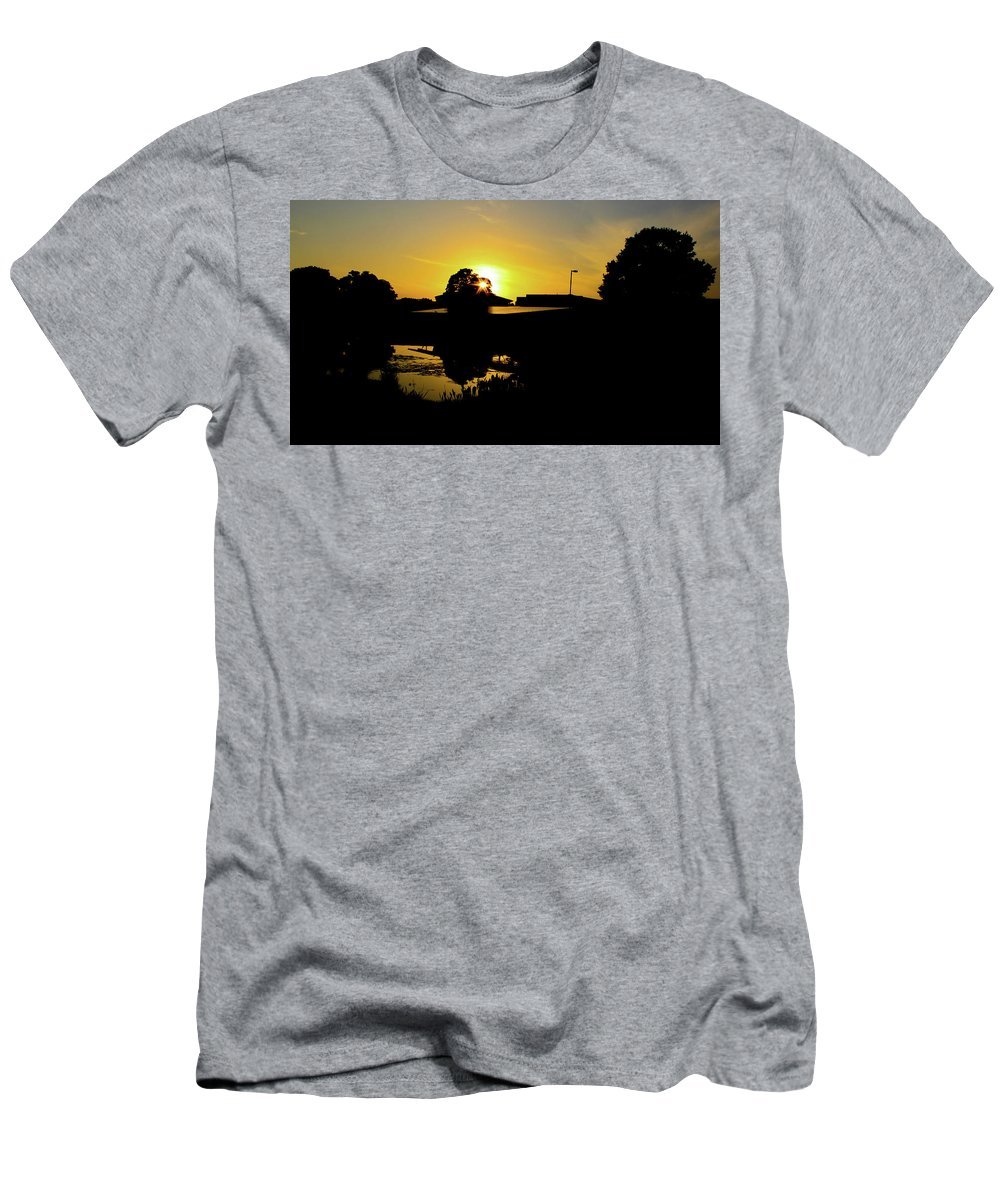 Landscape T-Shirt featuring the digital art Sunset over Building by Daniel Cornell
