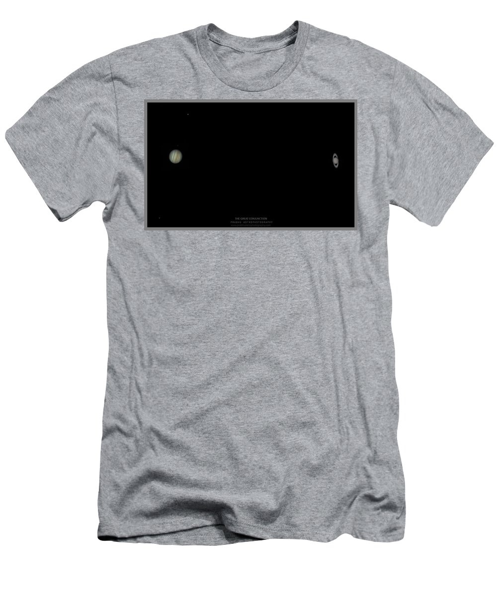 T-Shirt featuring the photograph The Great Conjunction of Jupiter and Saturn by Prabhu Astrophotography