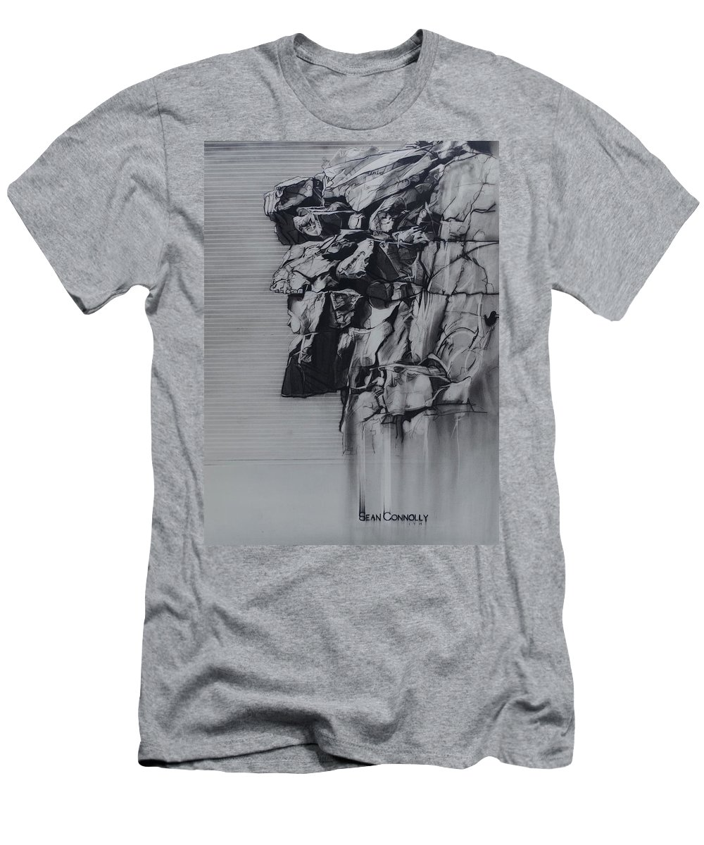 Charcoal On Paper T-Shirt featuring the drawing The Old Man Of The Mountain by Sean Connolly